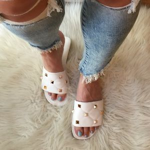 Spiked White Quilted Square Toe Sandals